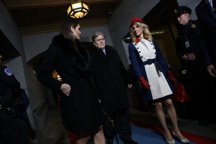 Kellyanne Conway is greeted upon her arrival on the platform of the US Capitol in Washington, DC, on January 20, 2017, before the swearing-in ceremony of US President-elect Donald Trump. / AFP / Mark RALSTON (Photo credit should read MARK RALSTON/AFP/Getty Images)
