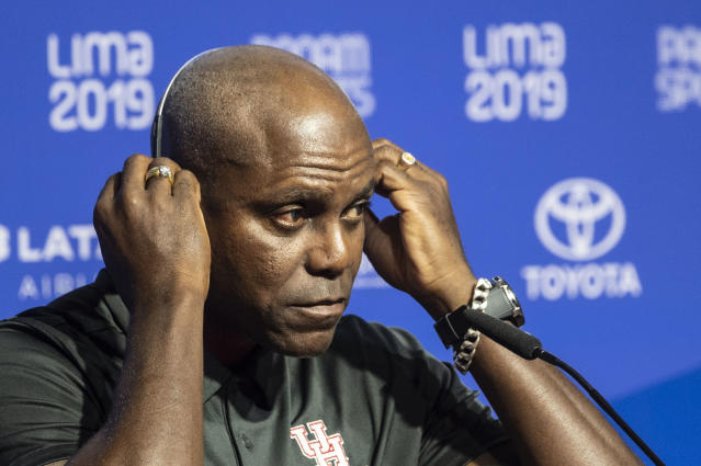 Carl Lewis gave a candid assessment of President Donald Trump at the Pan Am Games. (Getty)