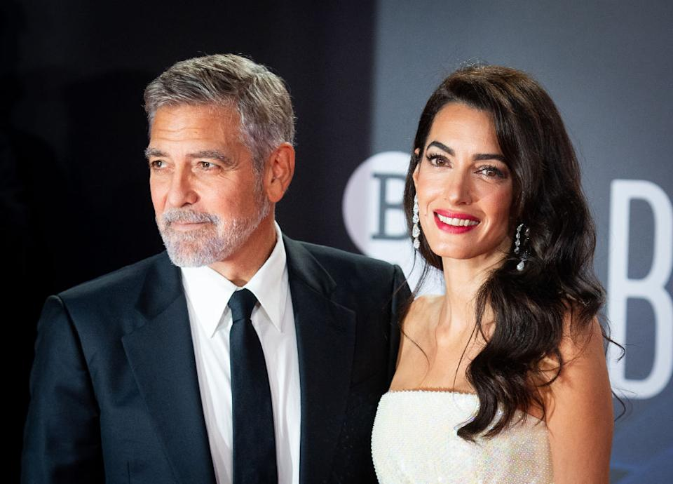 George and Amal Clooney attend The Tender Bar Premiere during the 65th BFI London Film Festival at The Royal Festival Hall in London. (Getty Images)