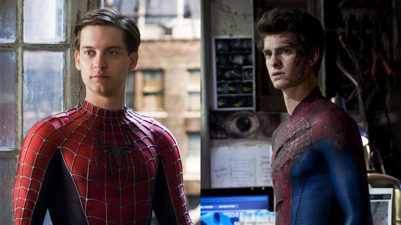 Tobey Maguire and Andrew Garfield as Spider-Man. (Credit: Sony)