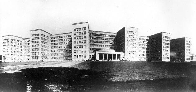 The headquarters of IG Farben in Nazi Germany. The company was responsible for the development of nerve agents as well as the chemical used in death camp gas chambers.