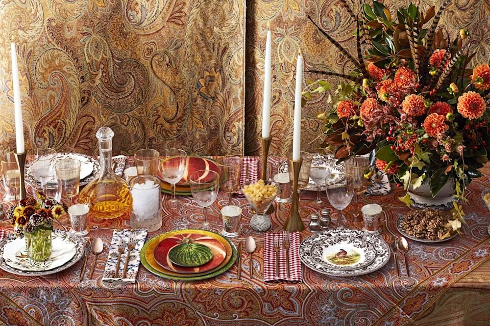 """<p>When it comes to Thanksgiving, the food and the company matters most, of course, but that doesn't mean your table setting can't also be a priority. And setting a pretty holiday table doesn't have to be difficult, either. Little details, from thoughtful <a href=""""https://www.housebeautiful.com/lifestyle/how-to/g1984/thanksgiving-place-cards-diy/"""" rel=""""nofollow noopener"""" target=""""_blank"""" data-ylk=""""slk:place cards"""" class=""""link rapid-noclick-resp"""">place cards</a> to fun, unexpected colors and motifs, can help make for a memorable meal during the holidays and just about any other occasion, too.</p><p>Whether you're going fully festive with turkey imagery and autumnal themes, plan to keep things simple and modern like your decor, or prefer going full-on glam to celebrate, these beautiful items are sure to transform your Thanksgiving table into your <a href=""""https://www.housebeautiful.com/entertaining/table-decor/tips/g3619/table-setting-ideas/"""" rel=""""nofollow noopener"""" target=""""_blank"""" data-ylk=""""slk:most amazing tablescape yet"""" class=""""link rapid-noclick-resp"""">most amazing tablescape yet</a> (and one that's <em>totally</em> Instagrammable) this year. And the best part? Many of these pieces you'll want to use and keep up year-round, too. </p>"""