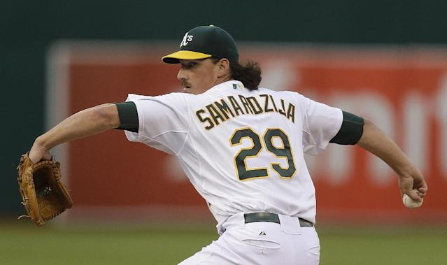 Oakland Athletics' Jeff Samardzija works against the Tampa Bay Rays in the first inning of a baseball game Monday, Aug. 4, 2014, in Oakland, Calif. (AP Photo/Ben Margot)