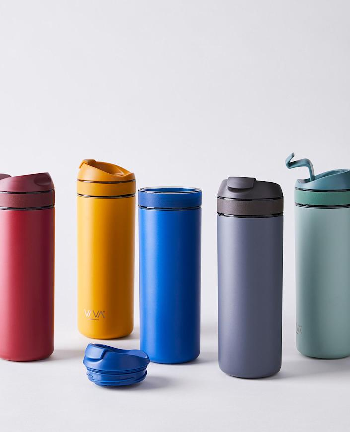 """Or if he's always in a rush, make sure he still gets his morning cup of joe with this tumbler, which has a built-in tea and coffee infuser to serve up fresh hot or iced beverages on the go. $40, Food52. <a href=""""https://food52.com/shop/products/7658-viva-recharge-brew-travel-tumbler"""" rel=""""nofollow noopener"""" target=""""_blank"""" data-ylk=""""slk:Get it now!"""" class=""""link rapid-noclick-resp"""">Get it now!</a>"""