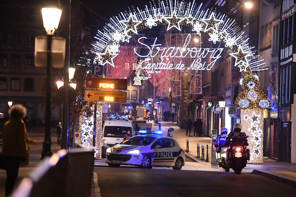 A police car drives in the streets of Strasbourg, eastern France, after a shooting breakout, on December 11, 2018. – At least two people have been killed and 11 critically wounded in a shooting in the French city of Strasbourg, police said, updating the number of victims. (Photo: Frederick Florin/AFP/Getty Images)