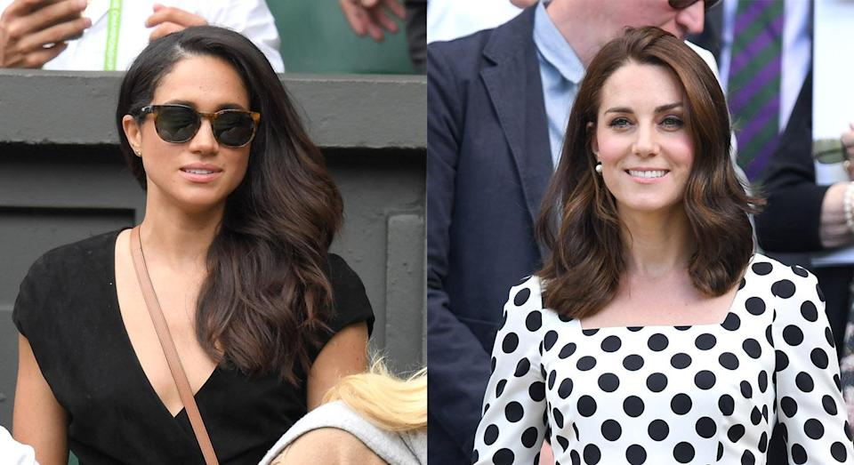 Pictured: Meghan at Wimbledon in 2016 and Kate in 2017. [Photo: Getty]