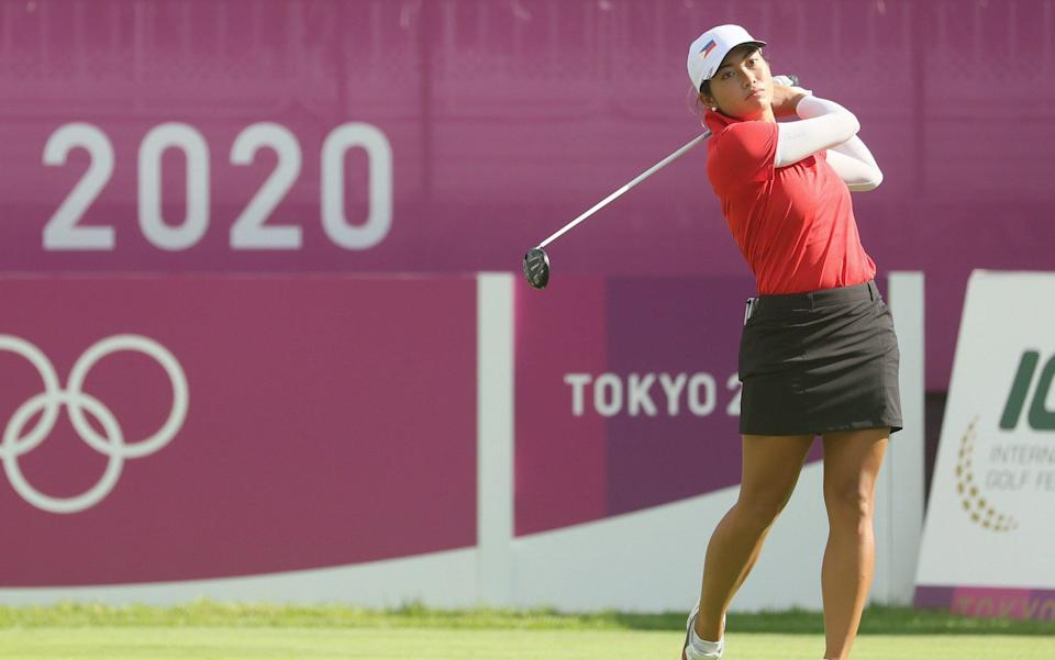 Bianca Pagdanganan of Team Philippines plays her shot from the first tee during the first round of the Women's Individual Stroke Play on day twelve of the Tokyo 2020 Olympic Games at Kasumigaseki Country Club on August 04, 2021 in Kawagoe - GETTY IMAGES