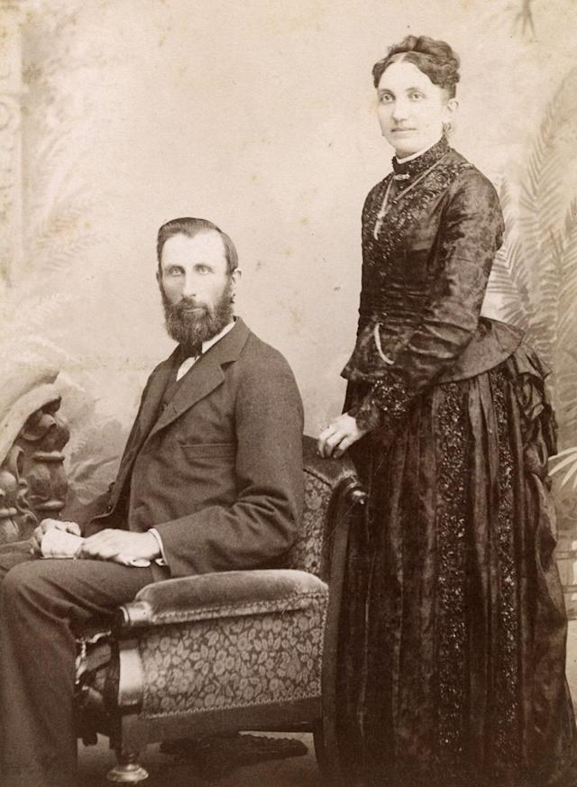 """<p>Frank said, """"[Note] the posture of the bride and groom, the placement of their hands, their dress and expressions."""" (Pictured: Vintage wedding portraits from """"I Do, I Do"""" exhibit) </p>"""