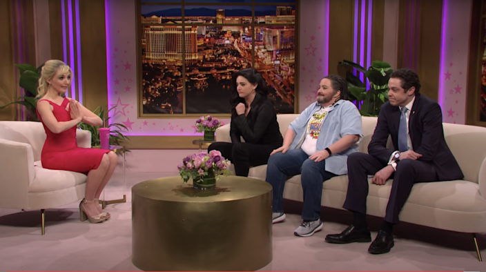 """From left, Britney Spears (Chloe Fineman), Gina Carano (Cecily Strong), Ted Cruz (Aidy Bryant) and Andrew Cuomo (Pete Davidson) on Spears' fictional talk show """"Oops, You Did It Again."""""""