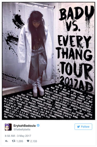 "The ""Badu Vs. Everythang"" tour runs through the fall"