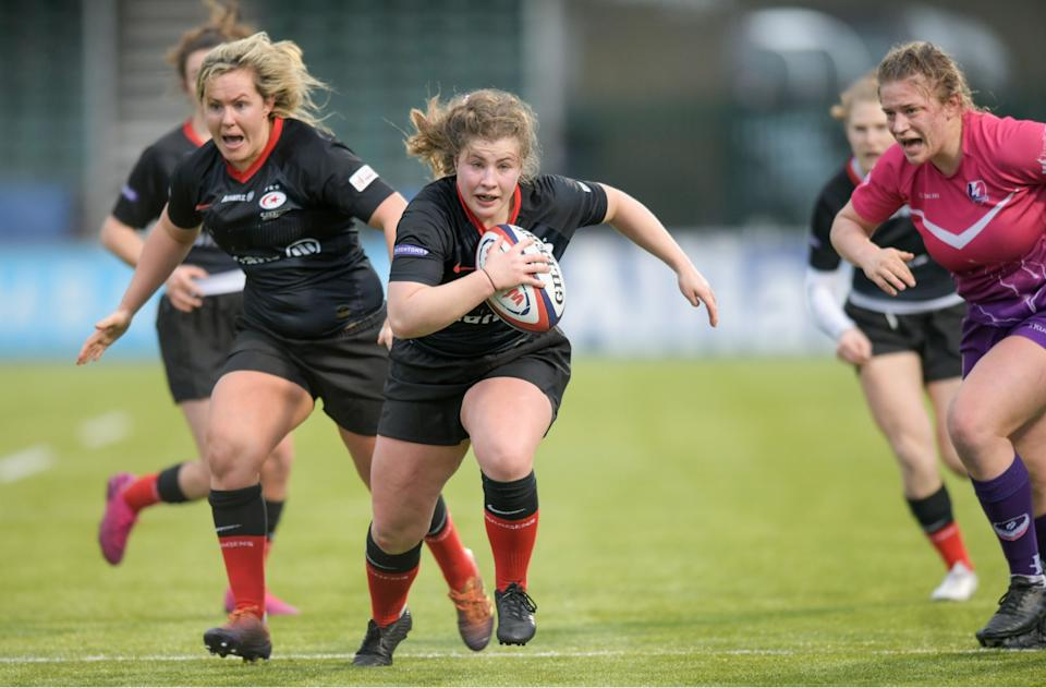 May Campbell dotted down twice in Saracens' victory over Loughborough Lightning // Photo credit: Marek Dorcik