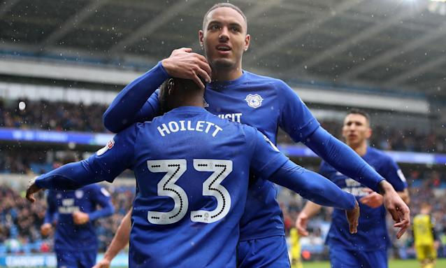 Cardiff City's Kenneth Zohore celebrates scoring his side's first goal against Burton.