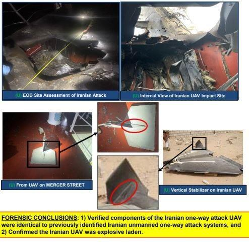 CENTCOM slide showing images from investigation into drone strike on tanker