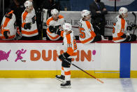 Philadelphia Flyers left wing Joel Farabee (86) celebrates his goal during the first period of an NHL hockey game against the Washington Capitals, Friday, May 7, 2021, in Washington. (AP Photo/Alex Brandon)