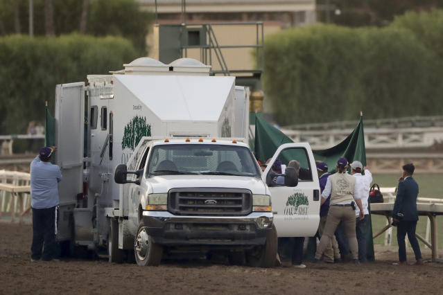 Track workers treat Mongolian Groom after it broke down during the Breeders' Cup Classic horse race at Santa Anita Park, Saturday, Nov. 2, 2019, in Arcadia, Calif. (AP Photo/Gregory Bull)