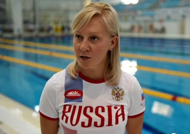 Olesya Alexandrova, the coach of paralympic swimmer Alexander Makarov, speaks with AFP after a training session in the town of Ruza on August 18, 2016 (AFP Photo/Vasily Maximov)