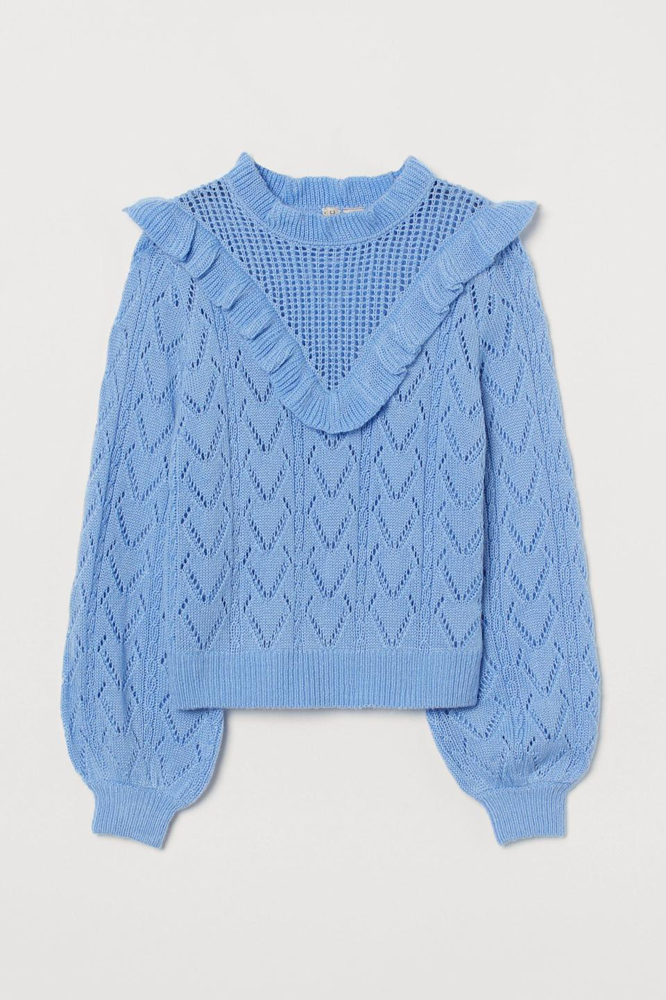 """<p><strong>H&M</strong></p><p>hm.com</p><p><strong>$34.99</strong></p><p><a href=""""https://go.redirectingat.com?id=74968X1596630&url=https%3A%2F%2Fwww2.hm.com%2Fen_us%2Fproductpage.0903266004.html&sref=https%3A%2F%2Fwww.elle.com%2Ffashion%2Fshopping%2Fg27038%2Fbest-fall-sweaters%2F"""" rel=""""nofollow noopener"""" target=""""_blank"""" data-ylk=""""slk:Shop Now"""" class=""""link rapid-noclick-resp"""">Shop Now</a></p><p>There's no such thing as too many ruffles. </p>"""