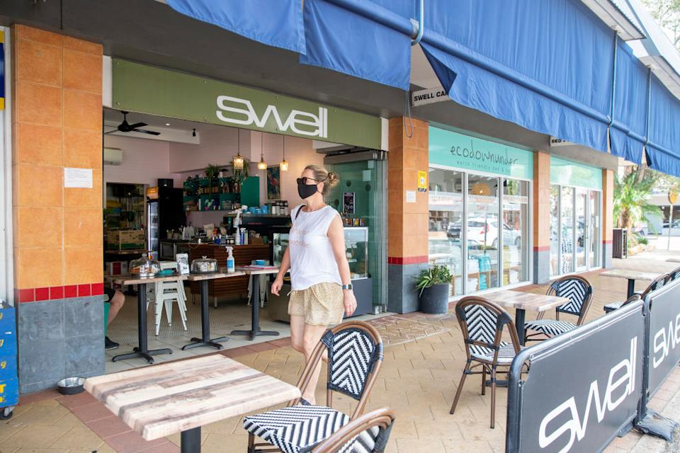 A general view is seen of Swell cafe in Avalon on in Sydney, Australia.