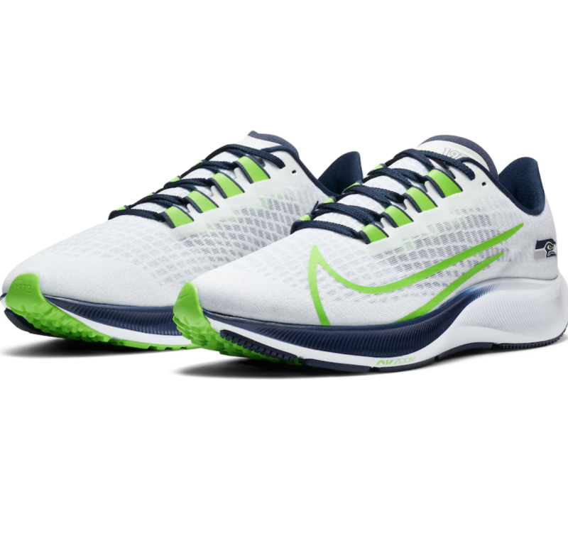 You can purchase the Seattle Seahawks Nike Zoom Pegasus 37 shoe at Fanatics or Dick's Sporting Goods.