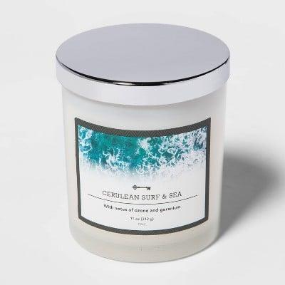<p><span>Surf and Sea Lidded Milky Glass Jar Candle</span> ($5)</p>