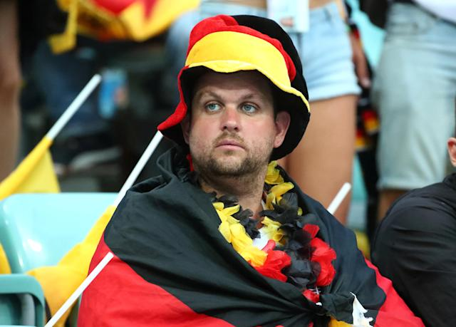 Soccer Football - World Cup - Group F - Germany vs Sweden - Fisht Stadium, Sochi, Russia - June 23, 2018 Germany fan inside the stadium before the match REUTERS/Michael Dalder