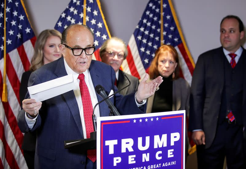 FILE PHOTO: Trump campaign representatives hold news conference on 2020 U.S. presidential election results in Washington