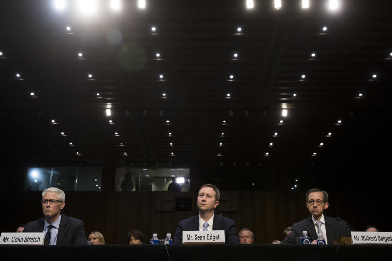 Colin Stretch, general counsel at Facebook, Sean Edgett, acting general counsel at Twitter, and Richard Salgado, director of law enforcement and information security at Google, testify during a Senate Judiciary Subcommittee on Crime and Terrorism hearing. (Drew Angerer via Getty Images)