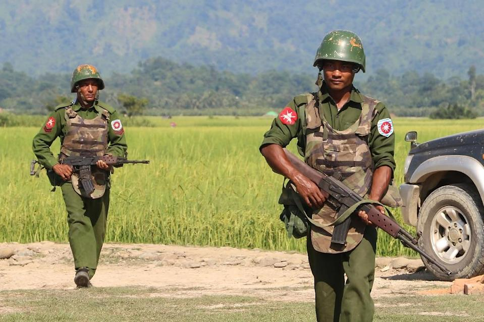 The Myanmar army has long been engaged in controversial operations in Rakhine state, with hundreds of thousands of Rohingya Muslims forced into Bangladesh by a bloody army crackdown in 2017 (AFP Photo/STR)