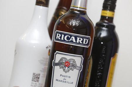 A bottle of Ricard is pictured during a news conference to present the company's 2015-2016 half-year results in Paris