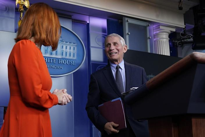 White House Press Secretary Jen Psaki is joined by Dr. Anthony Fauci for a briefing at the White House