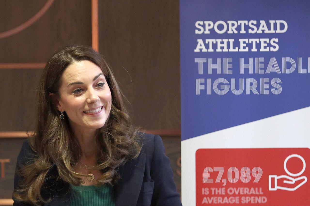 Britain's Catherine, Duchess of Cambridge, attends a SportsAid event at the London Stadium in east London on February 26, 2020. (Photo by Yui Mok / POOL / AFP) (Photo by YUI MOK/POOL/AFP via Getty Images)