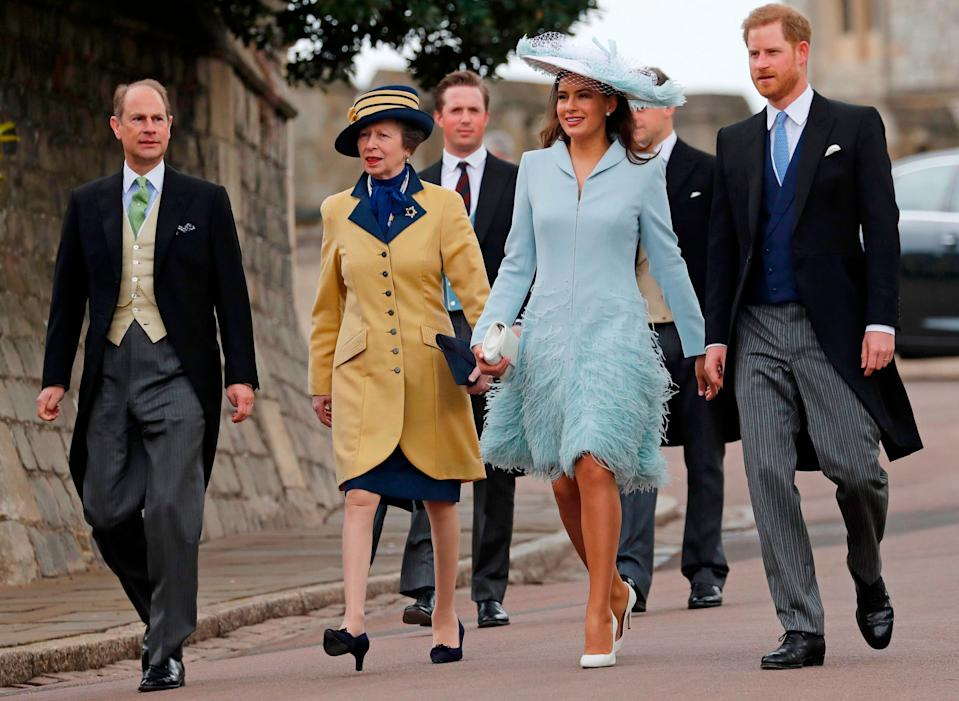 Prince Edward, Princess Anne, Sophie Windsor and Harry arrive for the wedding [Photo: Getty]