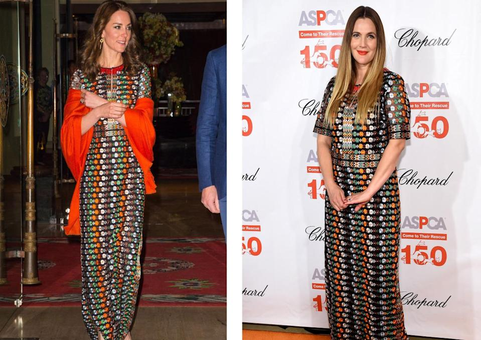 <p>This Tory Burch was one by two incredibly famous women in the same night. The Duchess of Cambridge donned it for an evening event while touring India with Prince William and Drew wore it to a NYC ball. <i>[Photo: Getty]</i><br></p>