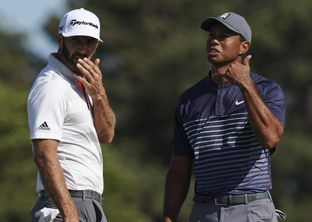 Dustin Johnson showed the way during Round 1 at the U.S. Open with a 1-under 69, while playing partner Tiger Woods is nine back after an 8-over 78. (AP)