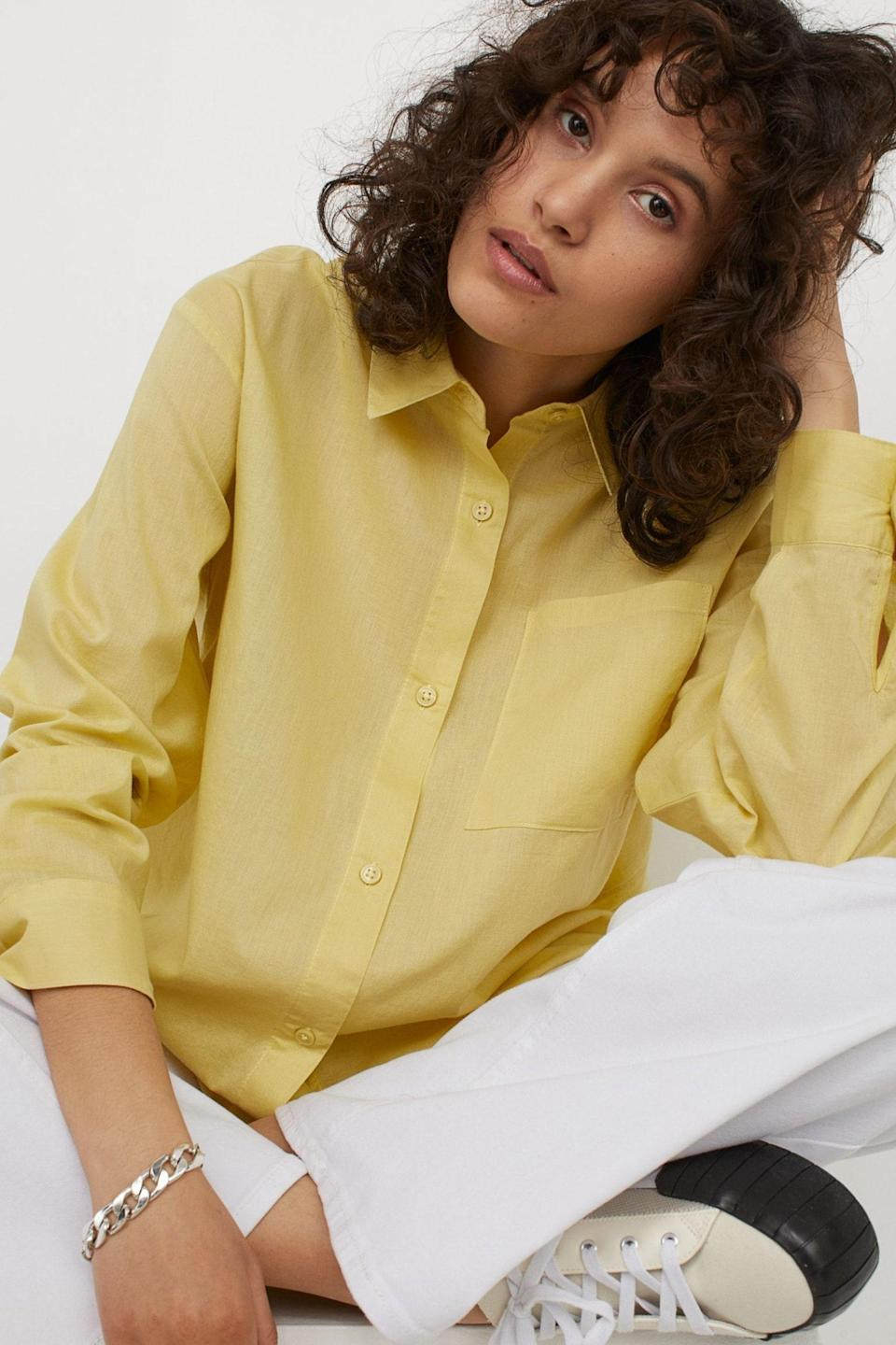 """The price is just right for this limoncello button-down, which you'll no doubt put to good use next summer as a <a href=""""https://www.glamour.com/gallery/best-cover-ups?mbid=synd_yahoo_rss"""" rel=""""nofollow noopener"""" target=""""_blank"""" data-ylk=""""slk:beach cover-up"""" class=""""link rapid-noclick-resp"""">beach cover-up</a>. $18, H&M. <a href=""""https://www2.hm.com/en_us/productpage.0872901017.html"""" rel=""""nofollow noopener"""" target=""""_blank"""" data-ylk=""""slk:Get it now!"""" class=""""link rapid-noclick-resp"""">Get it now!</a>"""
