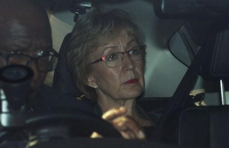 Britain's Conservative Party's leader of the House of Commons Andrea Leadsom is seen in a car outside Houses of Parliament in London, Britain, May 22, 2019. REUTERS/Hannah McKay