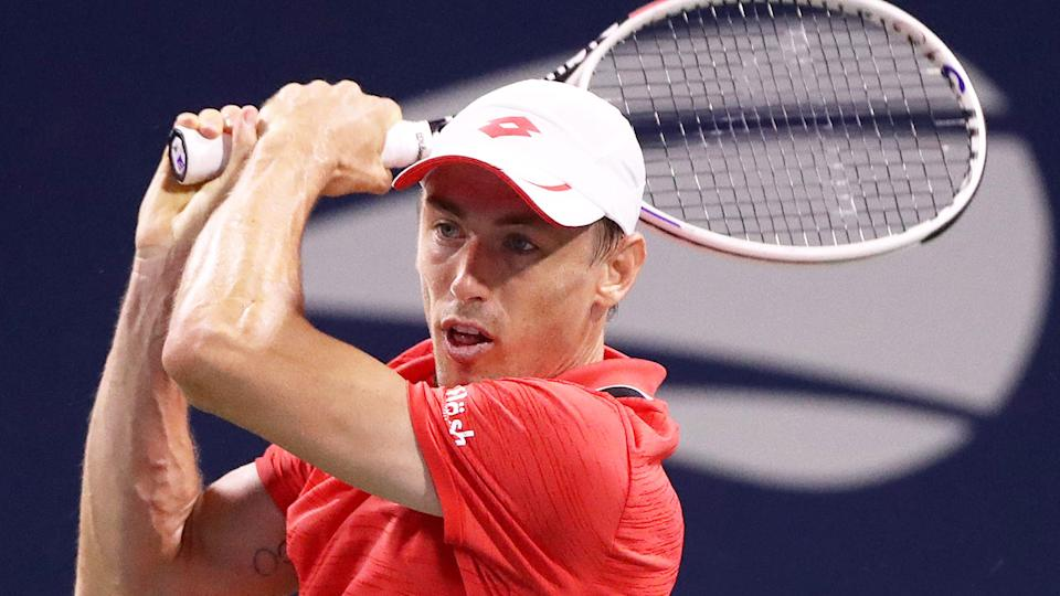 John Millman is seen here in action at the 2020 US Open.