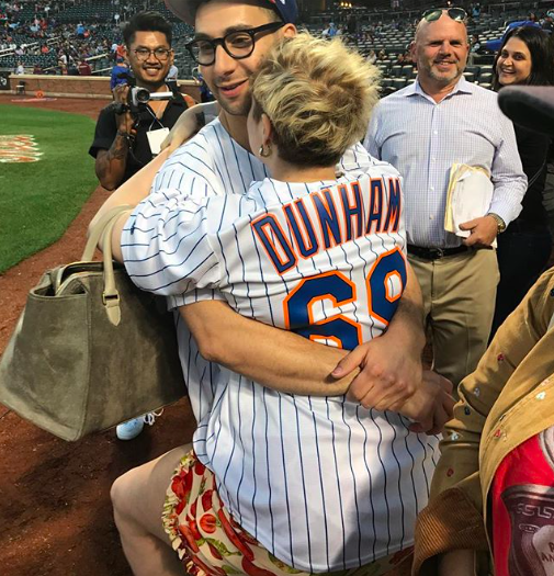 "<p>She's his biggest fan! The <em>Girls</em> star was on the sidelines to watch her boo, musician Jack Antonoff, throw out the first pitch at Citi Field Thursday, when the New York Mets took on the Cincinatti Reds. ""Good pitch, noodle,"" she captioned this photo of herself wrapping her arms around her man. (Photo: <a rel=""nofollow"" href=""https://www.instagram.com/p/BYwvvmOFFWB/?taken-by=lenadunham"">Lena Dunham via Instagram</a>)<br /><br /></p>"