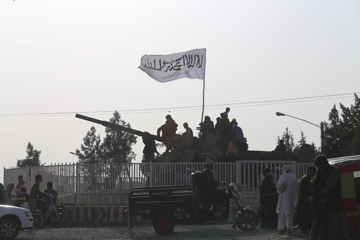 Taliban patrol after taking control of Herat, Afghanistan, on Aug. 18, 2021.