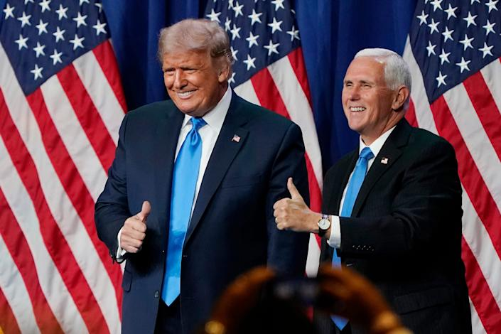 President Donald Trump and Vice President Mike Pence at the Republican National Convention on  Aug. 24, 2020, in Charlotte, North Carolina.