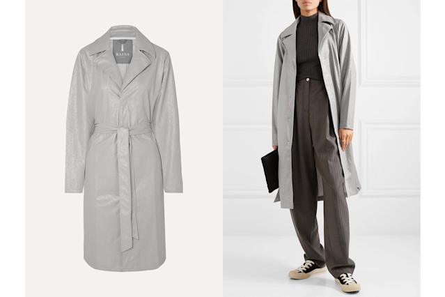 RAINS Belted cracked-PU trench coat