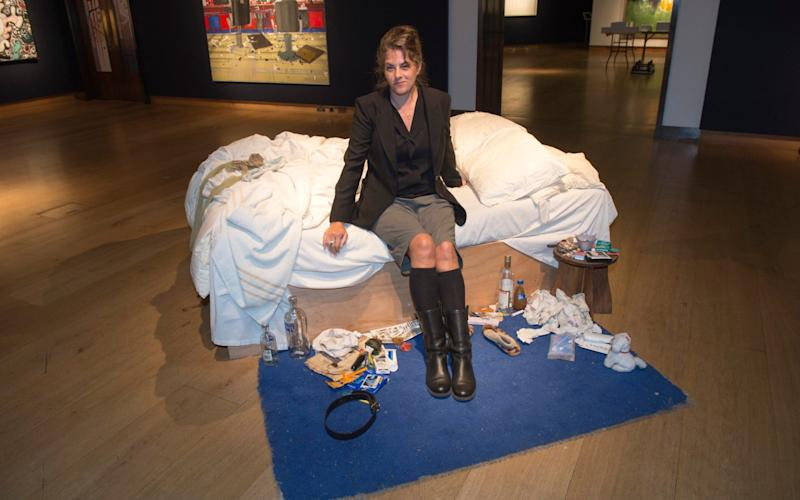 Tracey Emin with My Bed, which was shortlisted for the Turner Prize - Paul Grover