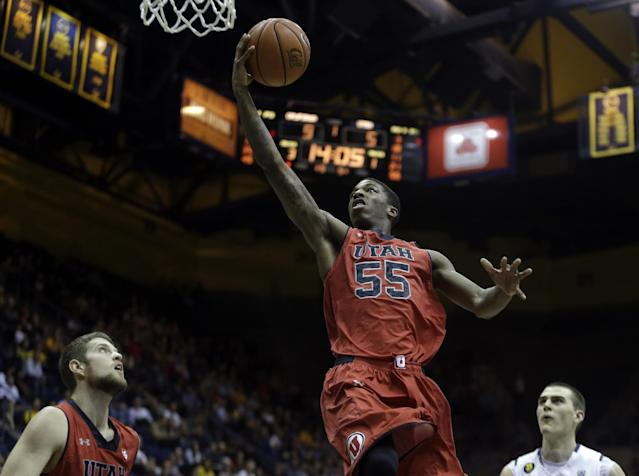 Utah's Delon Wright (55) lays up a shot against California in the first half of an NCAA college basketball game Wednesday, March 5, 2014, in Berkeley, Calif. (AP Photo/Ben Margot)