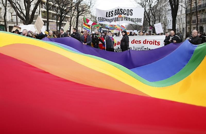Protesters hold a giant flag to support the legalisation of gay marriage and parenting rights for the community of LGBQIT (lesbian, gay, bisexual, queer, interex and transgender) in Paris on January 27, 2013