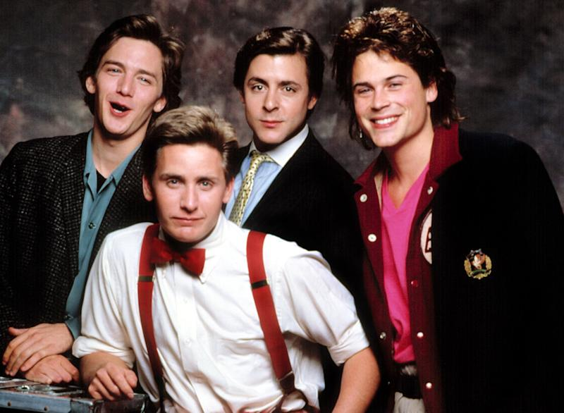 Lowe with Andrew McCarthy, Emilio Estevez, and Judd Nelson in a St. Elmo's Fire snapshot. (Everett Collection)