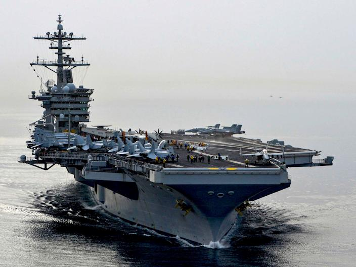 The aircraft carrier USS Theodore Roosevelt.