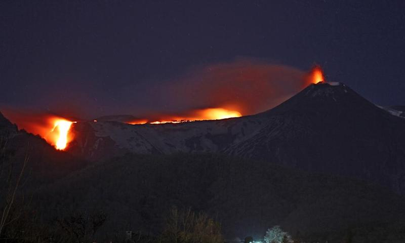 Mount Etna erupting on16 March 2017.