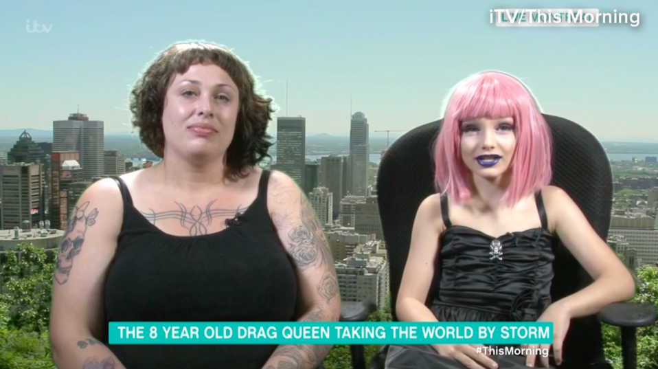 A 9-year-old drag queen has appeared on This Morning with his mum [Photo: ITV/This Morning]