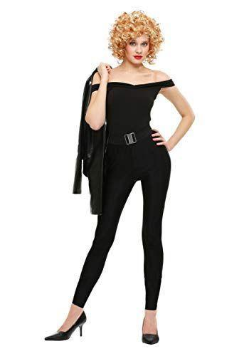 """<p><strong>Fun Costumes</strong></p><p>amazon.com</p><p><strong>$39.99</strong></p><p><a href=""""https://www.amazon.com/dp/B01M1DL9T4?tag=syn-yahoo-20&ascsubtag=%5Bartid%7C10055.g.28102891%5Bsrc%7Cyahoo-us"""" rel=""""nofollow noopener"""" target=""""_blank"""" data-ylk=""""slk:Shop Now"""" class=""""link rapid-noclick-resp"""">Shop Now</a></p><p>At the end of <em>Grease, </em>Sandy finds her confidence (and a pretty amazing all-black outfit).</p>"""