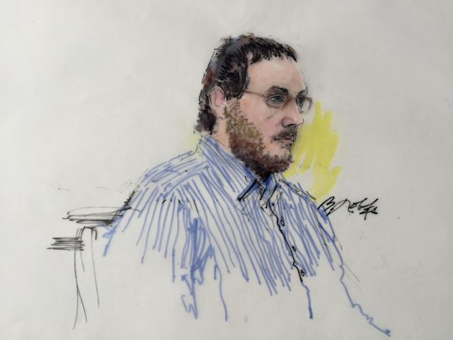 James Holmes sits in Arapahoe County District Court in Denver, Colorado on February 11, 2015, in this courtroom sketch. Lawyers in the murder trial of Colorado theater gunman Holmes are set to begin individual questioning of prospective jurors in the death-penalty case on Wednesday, a process scheduled to take four months to complete. REUTERS/Bill Robles (UNITED STATES - Tags: CRIME LAW) NO SALES. NO ARCHIVES. FOR EDITORIAL USE ONLY. NOT FOR SALE FOR MARKETING OR ADVERTISING CAMPAIGNS